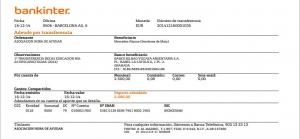 transferencia de 2500€, realizada en diciembre de 2014